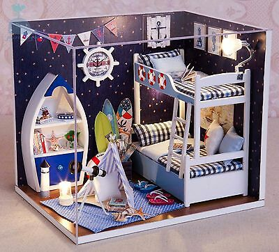 DIY Handcraft Miniature Project Dolls House My Little Boys Oceam Dream Bedroom
