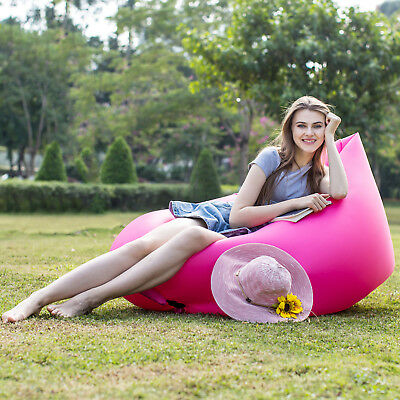 Double Deck Inflatable Air Lounger Bag Sleeping Sofa Camping Beach Swimming