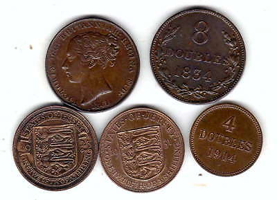 5 x channel island coins high grade and some early