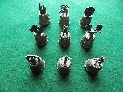 9 Vintage Pewter Thimbles with American Themes Alaska Texas Baseball etc