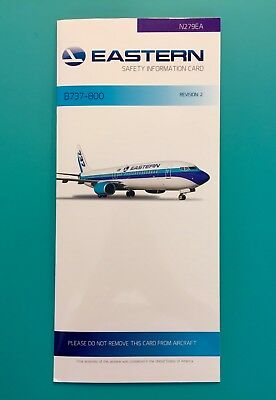 Eastern Airlines Safety Card-- 737-800 ...super Rare Card From The New Eastern!!