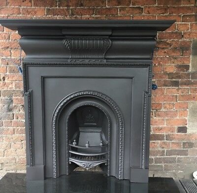 87c Fireplace ANTIQUE VICTORIAN CAST IRON  ARCH AND SURROUND £ Del £25 Most Uk