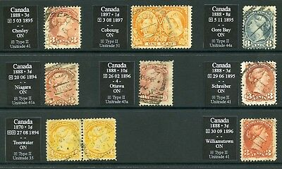 Canada – Squared Circle Cancels – Ontario – Lot Of 8