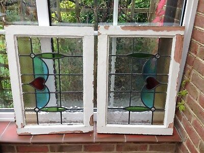Pair of Vintage Reclaimed stained glass windows
