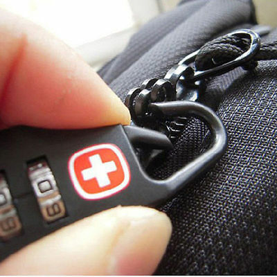 Lock Travel Code Luggage Metal 3 Black Password Outdoor Digit Padlock