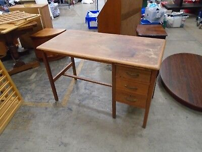 Vintage Wood Office / Writing Desk with 3 Drawers School Table Retro