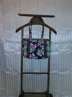Vera Bradley 100% Cotton Zip Up Blue with Floral Print Purse