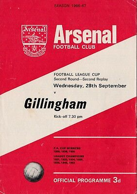 ARSENAL v Gillingham (FLC, R2 2nd Replay) 1966/7 4 page issue. VERY RARE