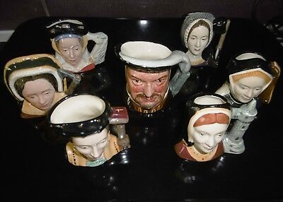 Royal Doulton Toby Jugs Henry VIII & his 6 wives, FULL SET IN PERFECT CONDITION