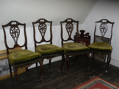 Antique Victorian/Edwardian dining chairs x 4 for restoration. Hand carved.