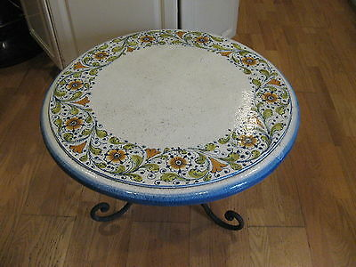 """Vintage Italian 26"""" Round Volcanic Stone Accent Table w/ Wrought Iron Base"""