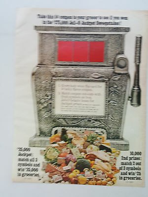 1966 Jell-O Jackpot Sweepstakes Slot Machine Fruits Vegetables vintage print ad