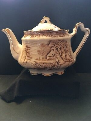 Arthur Wood Teapot Antique England Gilded In Stunning Condition