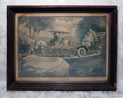 Antique 1907 Print Automobile Early Buggy Car Stuck Behind Horse Drawn Carriage