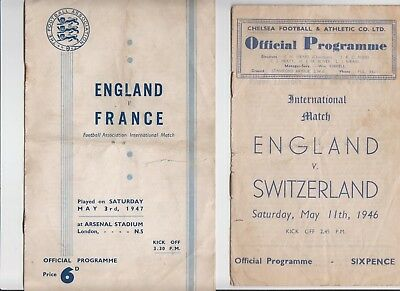 ENGLAND v FRANCE 1947 & SWITZERLAND 1946 PROGRAMMES