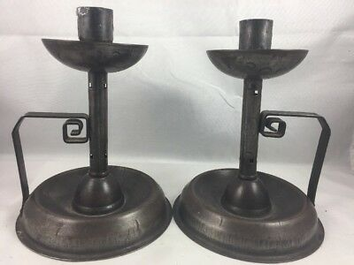 Pair Signed WURTTEMBERG Germany Arts & Crafts Metal Candlestick Holders