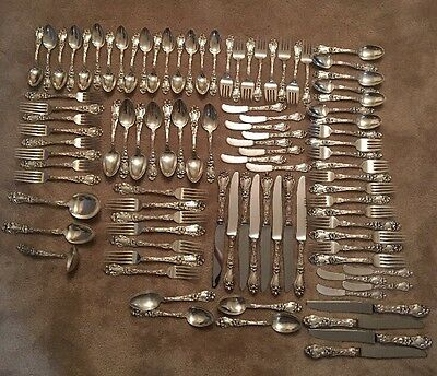 VINTAGE - FRANK WHITING - Lily- STERLING SILVER FLATWARE - 97 Pieces - Antique