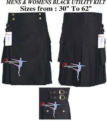 "Brand New Scottish kilt Black Utility Kilt 30"" to 62"" Select Any Size."