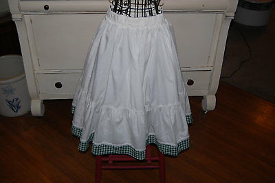 White With Green Gingham Trim Ladies Square Dance Skirt