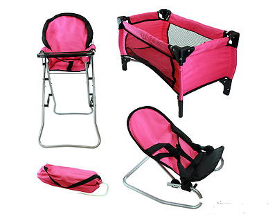 Baby Doll High Chair Pack N Play Crib Bouncer Combo Doll Play Set Girl Toy  Gift