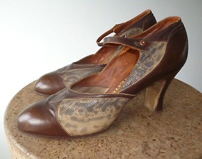 BEAUTIFUL VINTAGE ANTIQUE SHOES LEATHER AND SNAKE SKIN SHARK BROWN 1920s UK 5.5