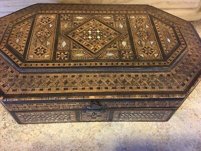 Vintage Antique Inlaid Wood Document/Sewing/Dresser Box Amazing Workmanship