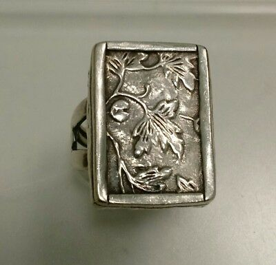 Sterling Silver SILPADA Chunky Hammered Leaf Design Ring Size 8 '925 Israel'