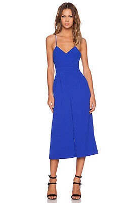 CMEO COLLECTIVE £145 RRP | Power Trip Cropped Jumpsuit Blue | Size: XL/ UK14 BNW