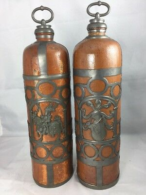 2 Rare Antique German Clay STONEWARE Bottles w/ Pewter Overlay & Touchmarks