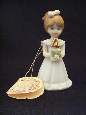 Enesco Growing Up Birthday Girls Age 4 Ellen Williams 1982 Cake Topper