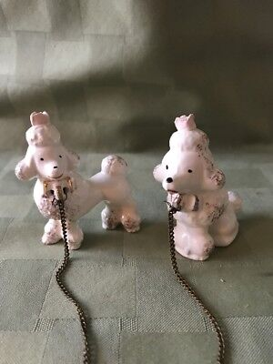 Vintage Set of 2 Ceramic Porcelain POODLES On Chain Mid-Century