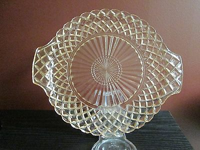Waterford Pink Depression Glass Waffle Vanity Serving Tray Art Deco Cake Plate!