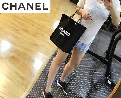 CHANEL VIP Gift Black Mesh Canvas Tote Bag with Silver&Gold Hardware Authentic