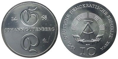 10 Mark Ddr 1968 Gutenberg