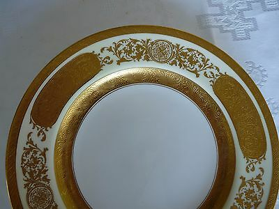 """CROWN SUTHERLAND England LOT 5 Gold Encrusted 10.25"""" DINNER PLATES  #3227"""