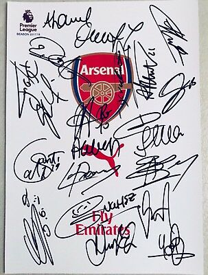 Arsenal 2017/18 Squad Signed Pic Alexis Sanchez Ozil Chile Soccer Football Henry