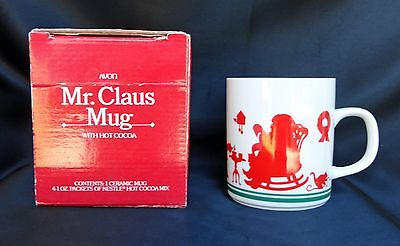 Avon Mr Claus Coffee Cocoa Mug Cup 1984 Elves Santa Rocking NIB Free USA Ship