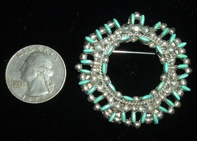 Beautiful, Old, Sterling Silver & Turquoise, Zuni Brooch, Large!