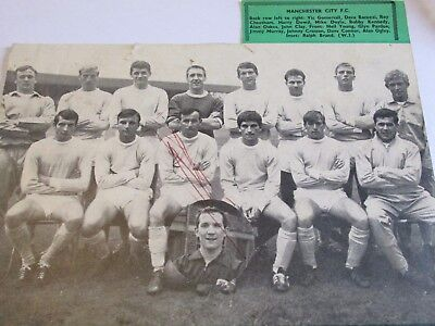 Manchester Man City black & white team picture 1965 signed by Jimmy Murray