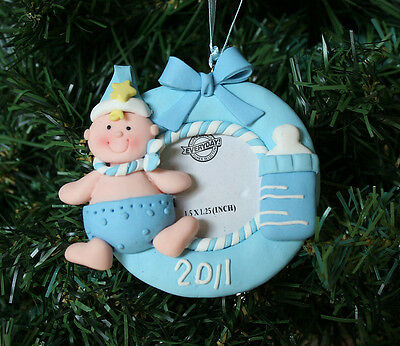 Baby Boy Xmas Ornament Blue Picture Frame Bottle First Photo Child Infant NEW