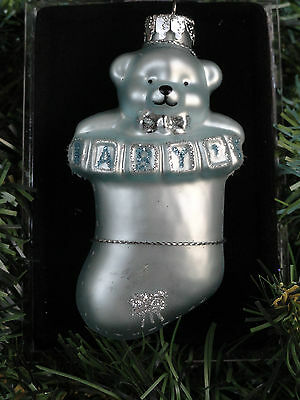 Baby Boy Hand Crafted Glass Christmas Ornament Bear Stocking Blue Sterling NIB