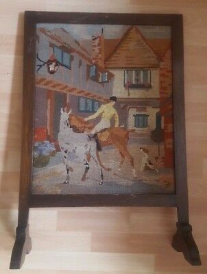 Vintage Fire Guard Screen With Tapestry Hunting Scene