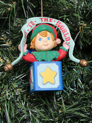 Lustre Fame Christmas Traditions Ornament Joy To The World Elf Jack In The Box