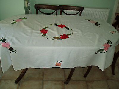 """Vintage Linen Hand Embroidered  Table Cloth  5'6"""" X 4'2"""""""