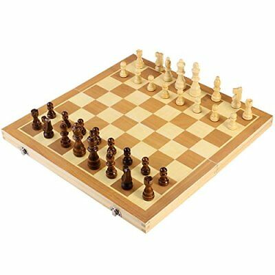 BESTOYARD Folding Wooden Chess Set with Magnetic Pieces, 3939cm Board