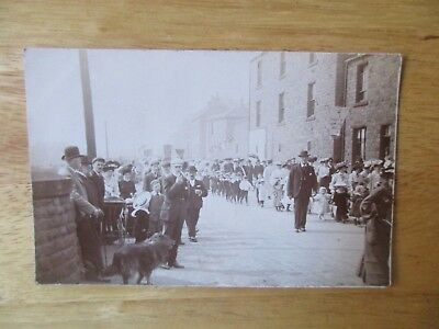 vintage postcard * religious march in unknown town, early 1900s * unposted