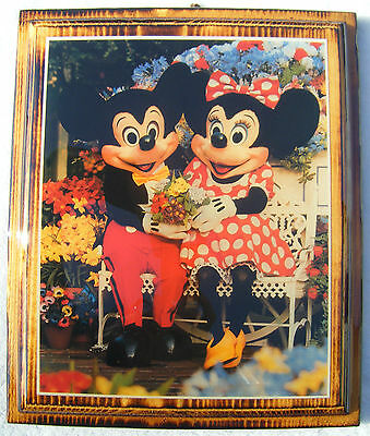Disney 1984 Mickey & Minnie Mouse 10 x 12 Wall Plaque Photo Hanging - RARE