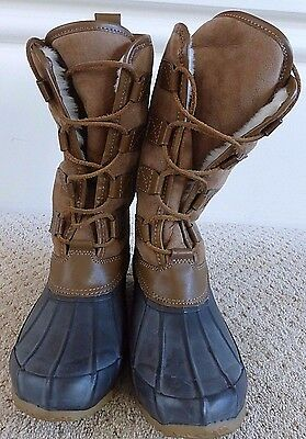 20f30828bd58 Tory Burch Argyll Shearling Lace Up Snow Boots Woman Size 6 Brown NWOB