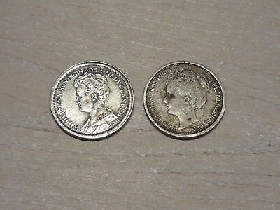 Two  10 Cent Coins Netherlands 1904 1913