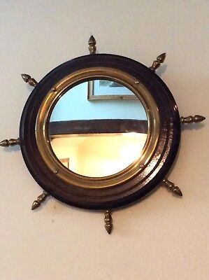 Vintag Ships Wheel Style Wood & Brass Framed Wall Mirror FREE UK POST